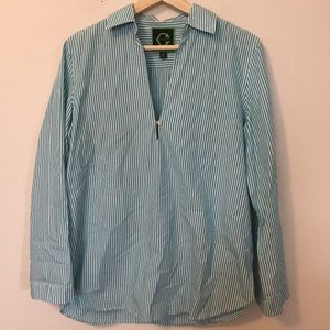 C Wonder Teal and White Striped Tunic